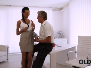 OLD4K. Sweet secretary Liliane caresses boss after hard day of work