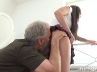 Old-n-Young.com - Lana Ray - Sweetie takes old cumload on tits